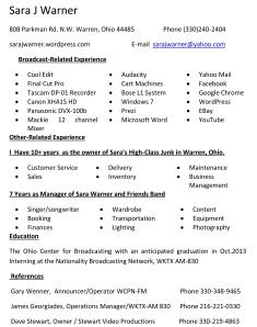 Sara J Warner Resume